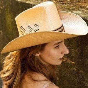 Vintage STETSON Straw ROADRUNNER Cowboy Hat 7 1/8